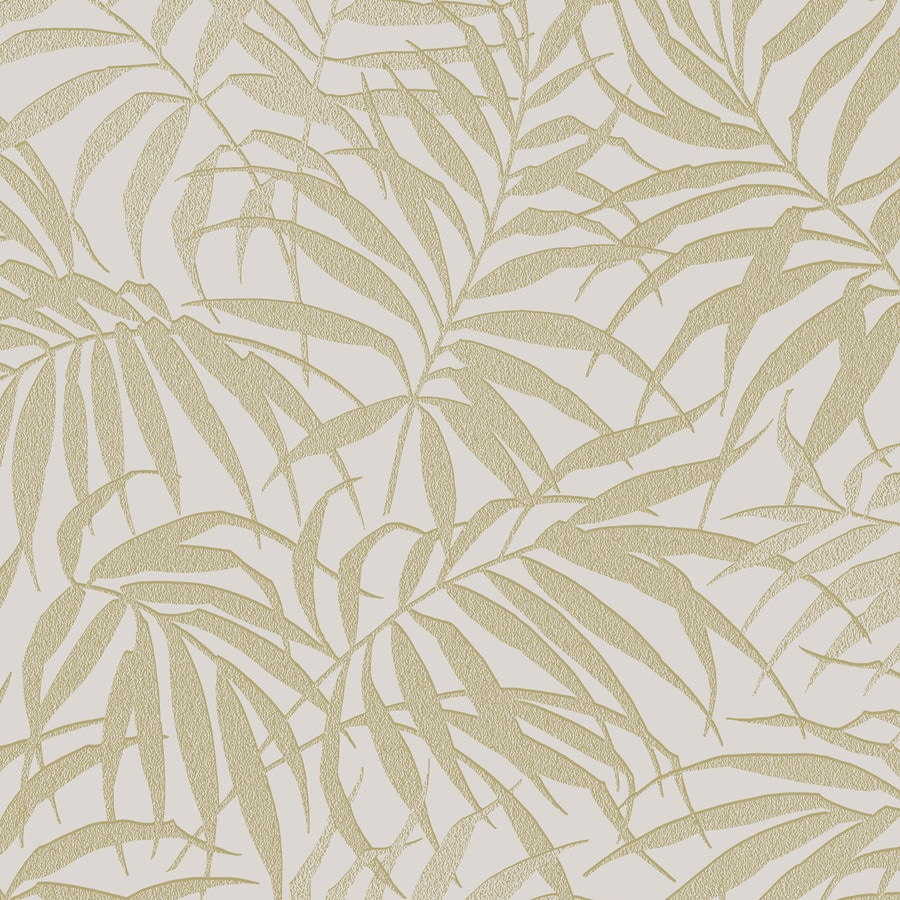 Graham & Brown Pure Taupe and Gold Paper Textured Floral Wallpaper