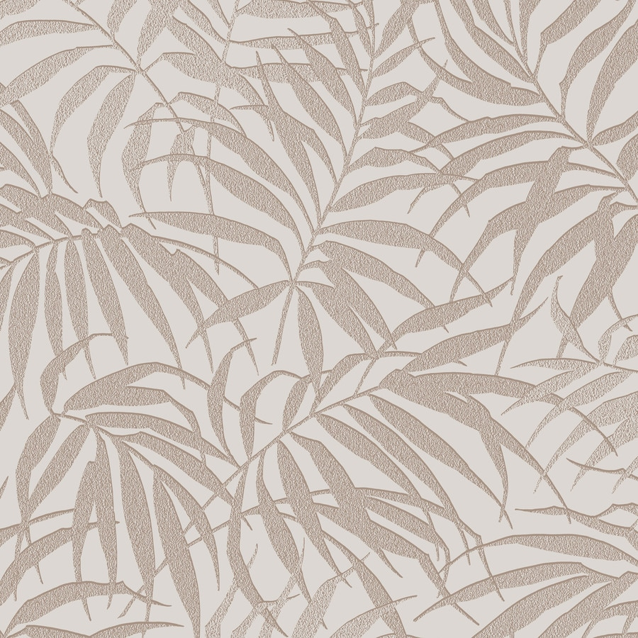 Graham & Brown Pure Taupe and Rose Gold Paper Textured Floral Wallpaper