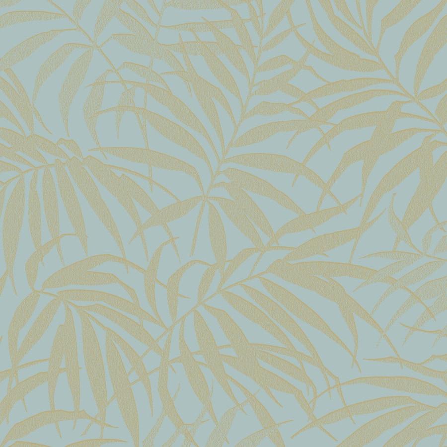 Graham & Brown Pure Aqua and Gold Paper Textured Floral Wallpaper