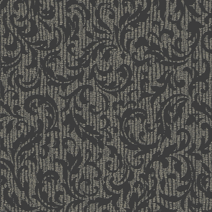 Graham & Brown Surface Charcoal and Champagne Vinyl Textured Damask Wallpaper