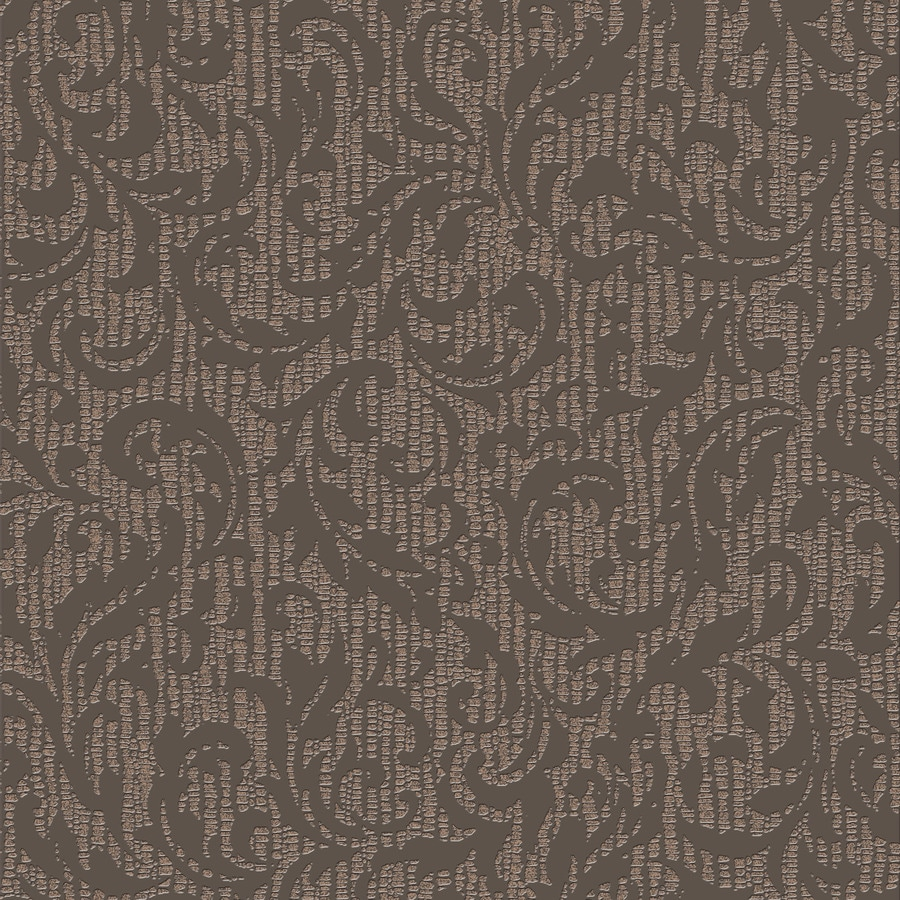 Graham & Brown Surface Chocolate and Copper Vinyl Textured Damask Wallpaper