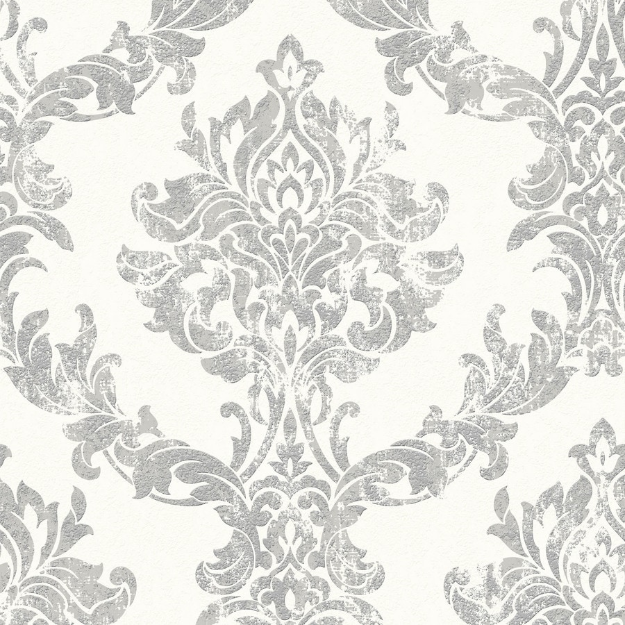 Graham & Brown White and Silver Vinyl Damask Wallpaper