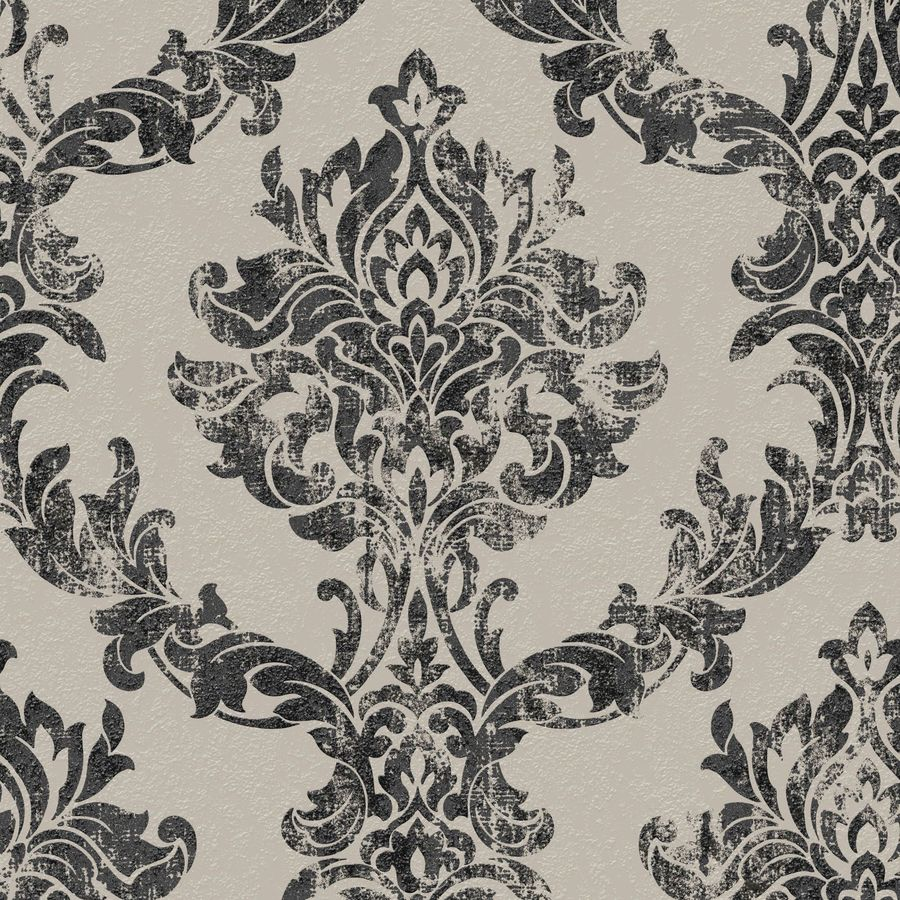 Graham & Brown Surface Charcoal and Gold Vinyl Textured Damask Wallpaper