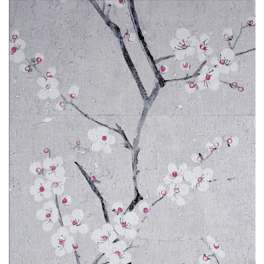 Graham Brown 56 Sq Ft Grey Vinyl Textured Floral Unpasted Wallpaper In The Wallpaper Department At Lowes Com