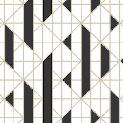 Kelly Hoppen 56 Sq Ft Blackwhite Vinyl Textured Geometric Unpasted Paste The Wall Wallpaper