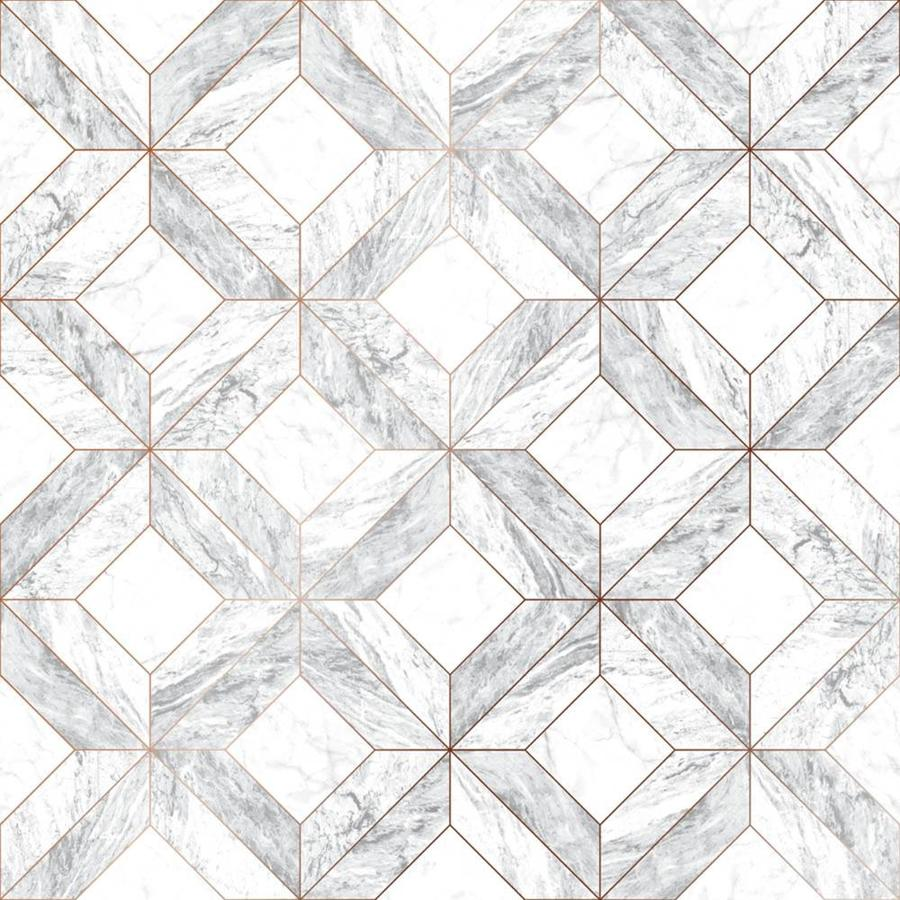 Graham & Brown Strata 56-sq ft White/Gray/Rose Gold Vinyl Textured Tile Wallpaper