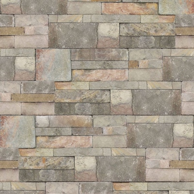 Strata 56 Sq Ft Taupe Vinyl Textured Stone Unpasted Paste The Wall Wallpaper