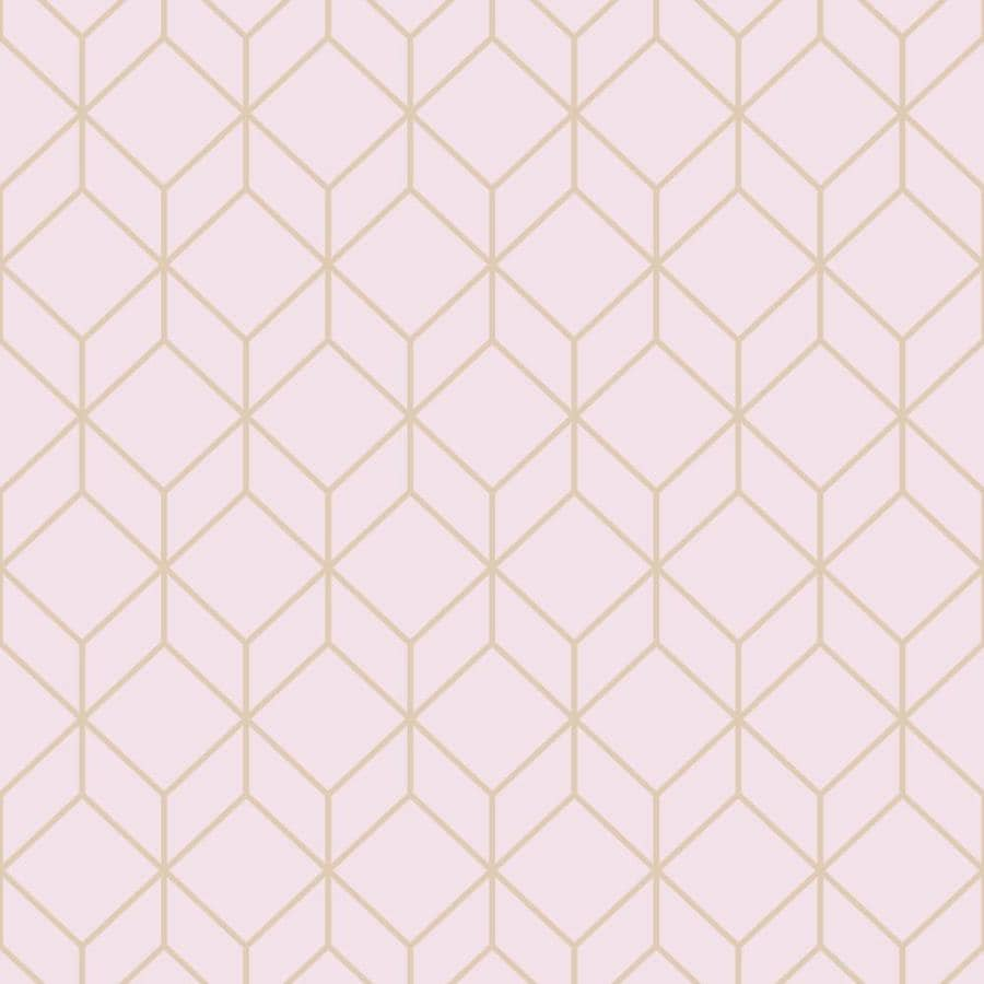 Graham & Brown Empress 56-sq ft Pink/Rose Gold Vinyl Textured Geometric Wallpaper