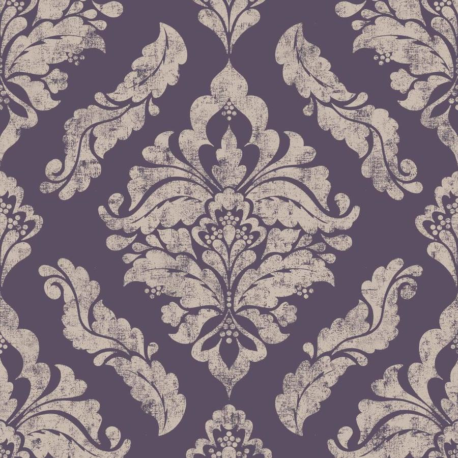 Well known Shop Graham & Brown Vermeil 56-sq ft Purple/Silver Paper Damask  XQ79