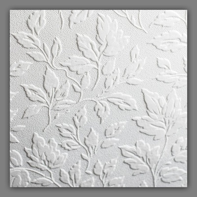 Eclectic 56 Sq Ft White Vinyl Paintable Textured Ivy Vines Unpasted Paste The Paper Wallpaper