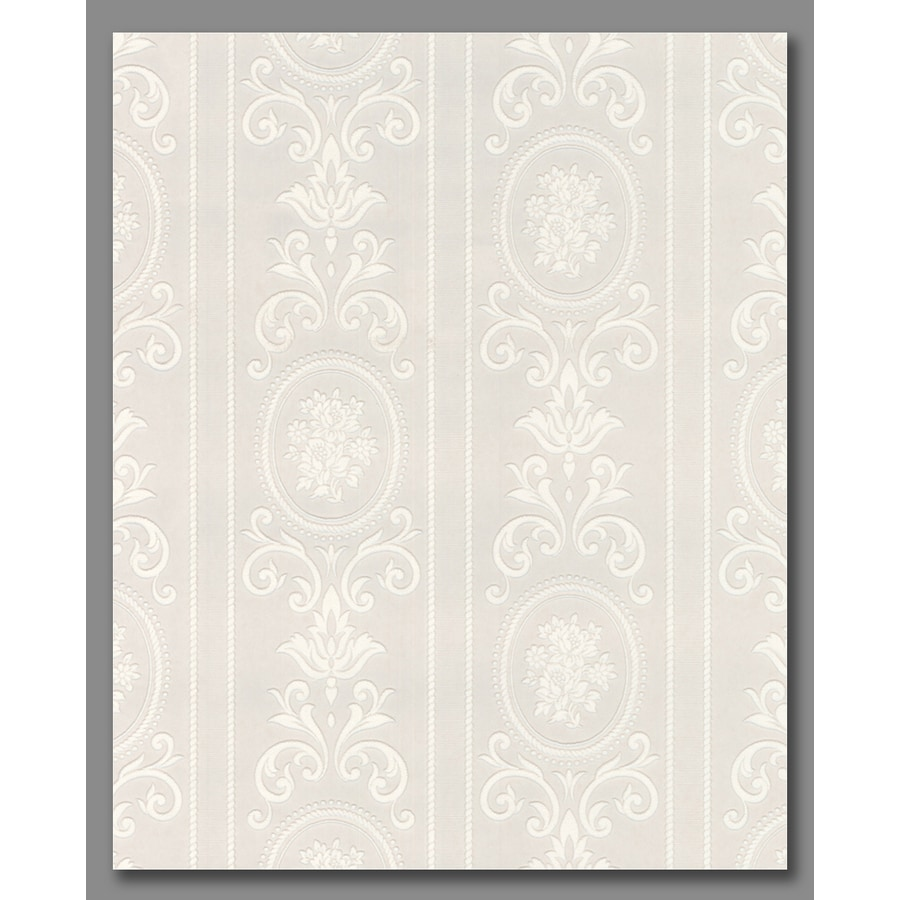 Graham & Brown Eclectic White Vinyl Paintable Textured Floral Stripe Wallpaper