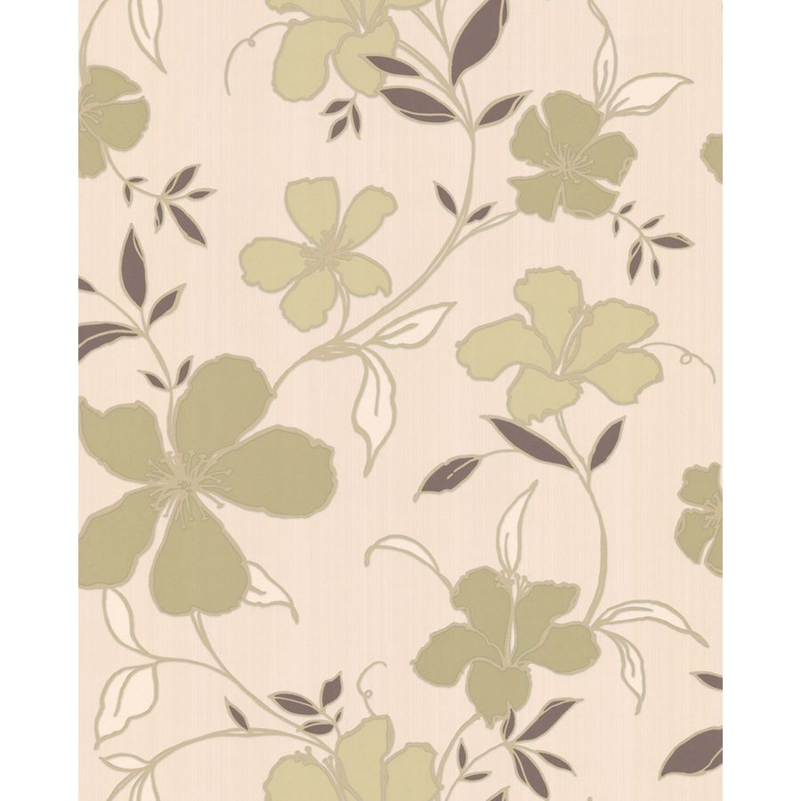 Superfresco Easy Green/Cream Paper Floral Wallpaper