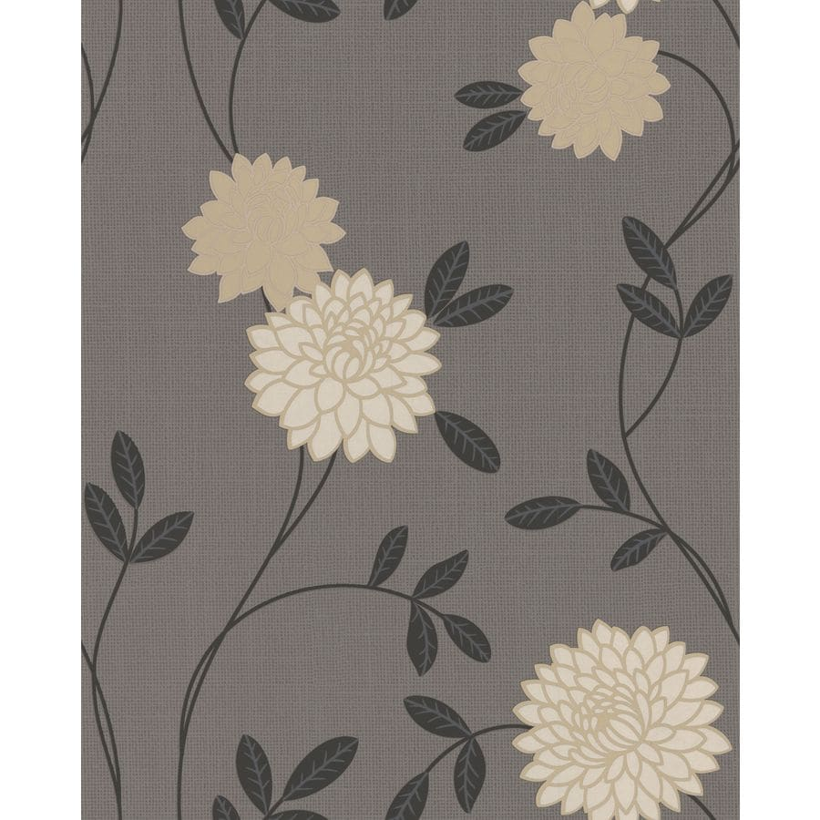 Superfresco Charcoal Vinyl Floral Wallpaper