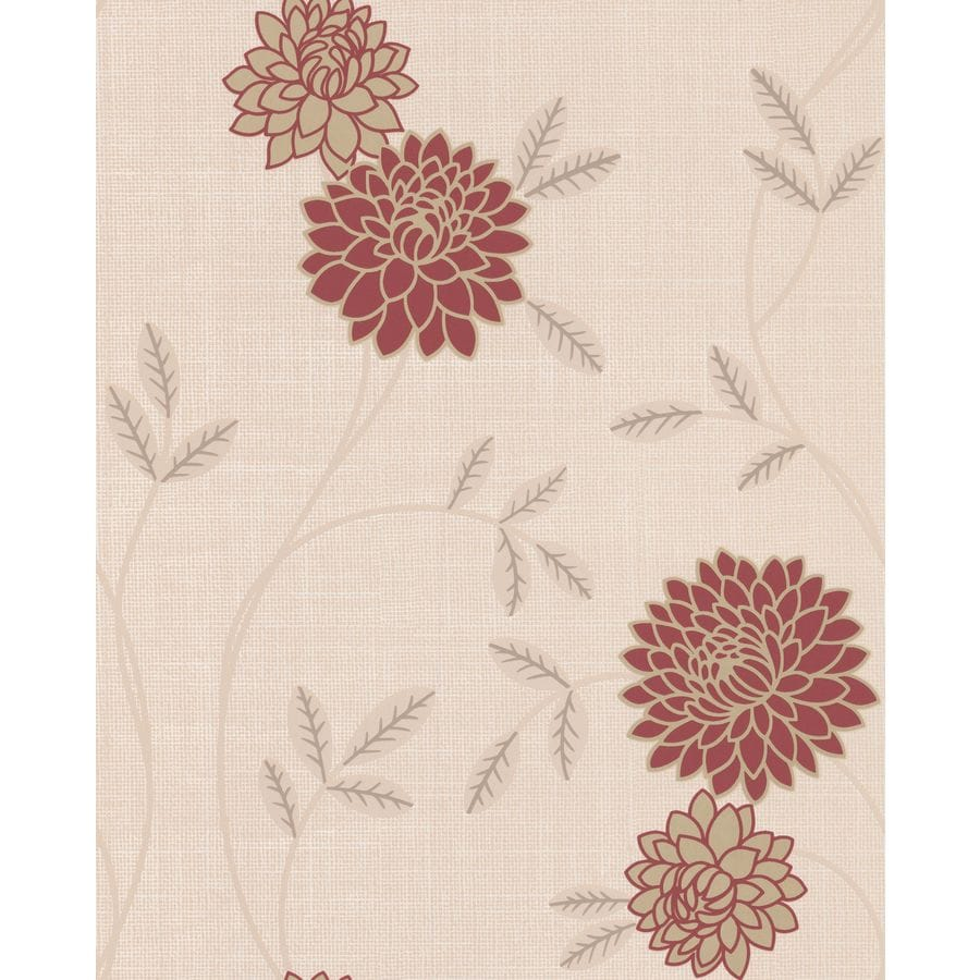 Superfresco Red Vinyl Floral Wallpaper