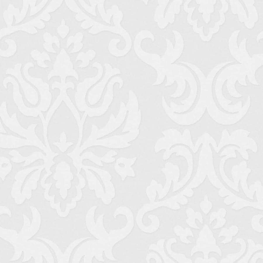 Graham & Brown Eclectic White Vinyl Paintable Textured Damask Wallpaper