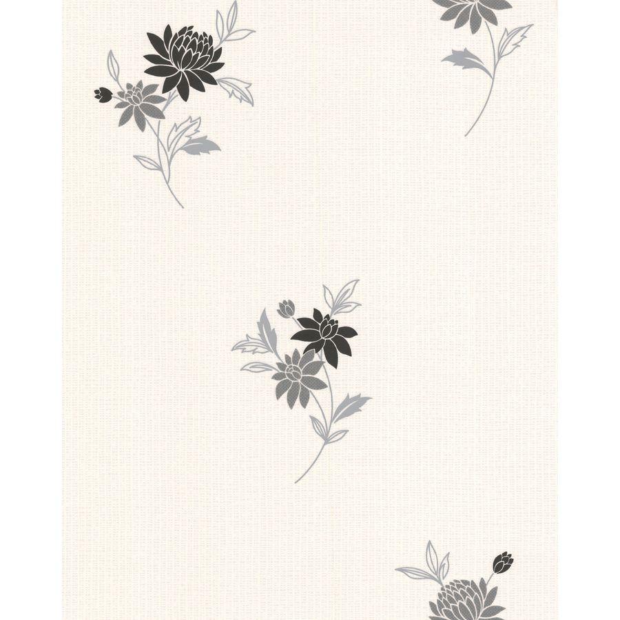 Superfresco Classics Black/White Vinyl Textured Floral Wallpaper