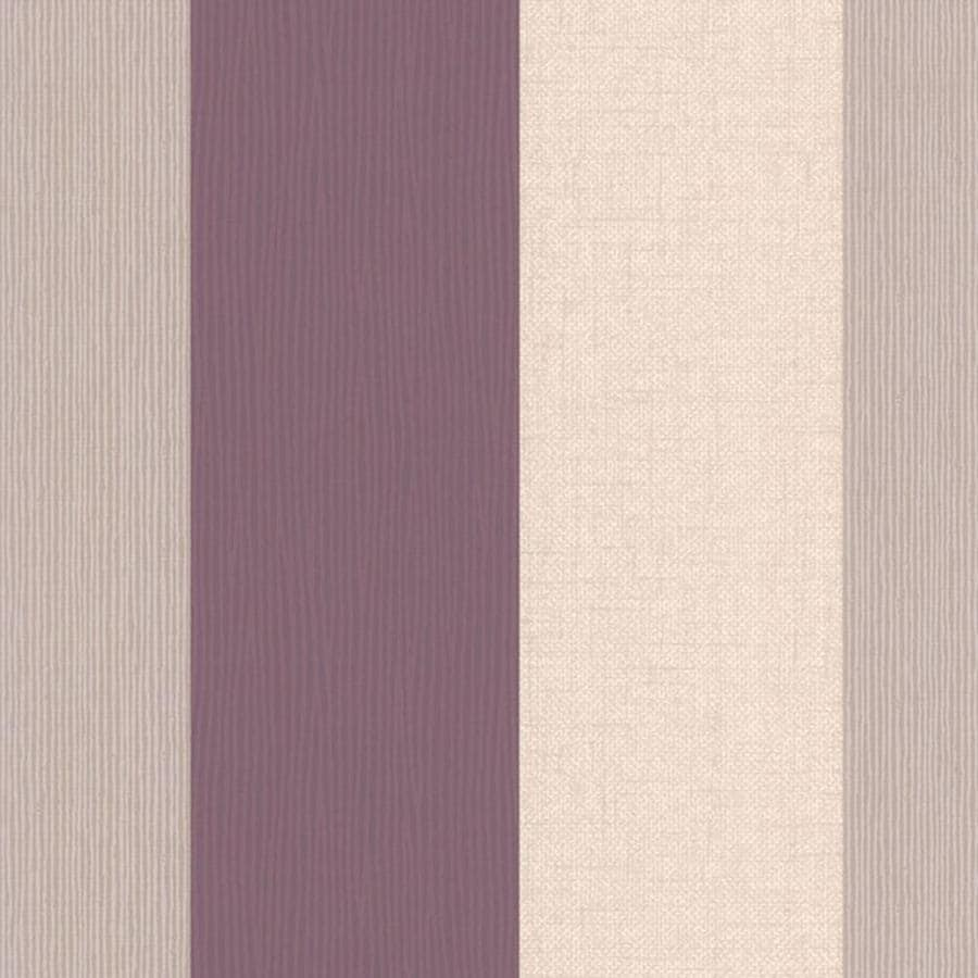 Graham & Brown Classics Plum/Tan Vinyl Textured Stripes Wallpaper