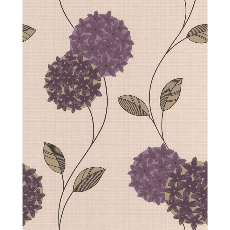 Superfresco Plum/Cream Vinyl Floral Wallpaper