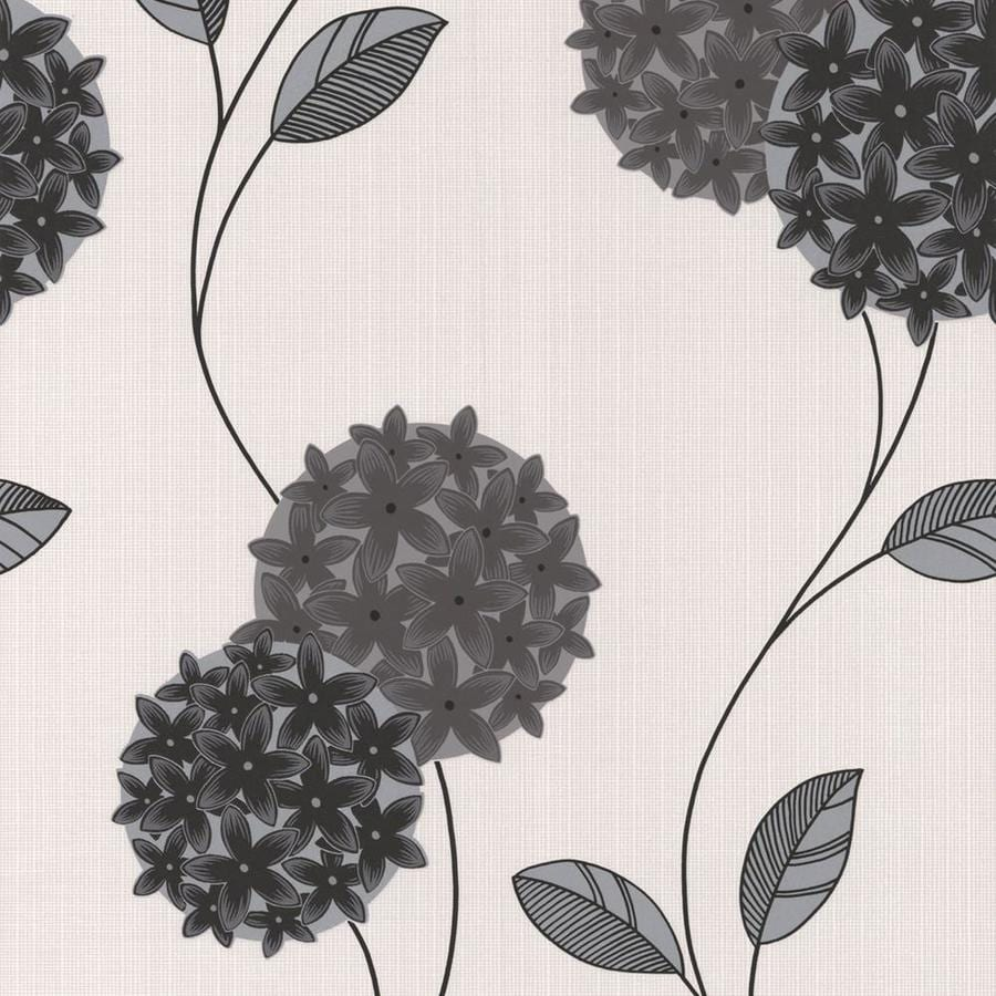 Graham & Brown Classics 56-sq ft Black/White Vinyl Textured Floral  Wallpaper