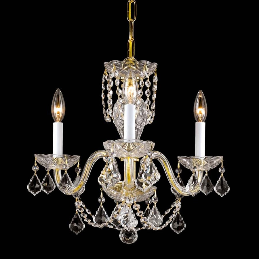 Weinstock Illuminations 16-in 3-Light Hand Polished Brass Crystal Candle Chandelier