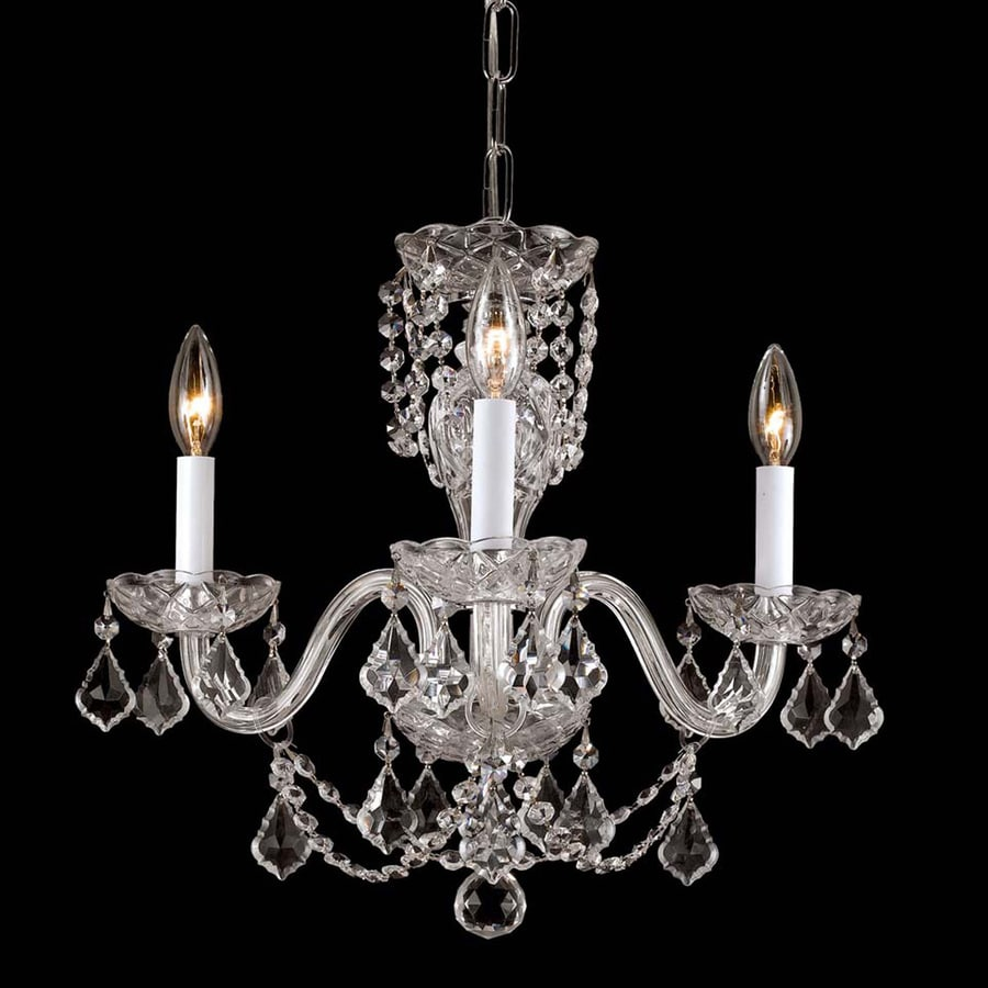 Weinstock Illuminations 16-in 3-Light Hand Polished Chrome Crystal Candle Chandelier