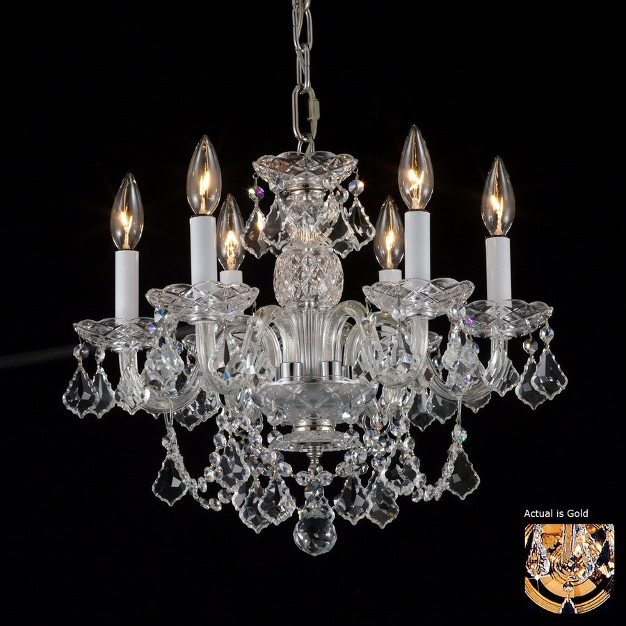 Weinstock Illuminations 18-in 6-Light Hand Polished Brass Crystal Candle Chandelier