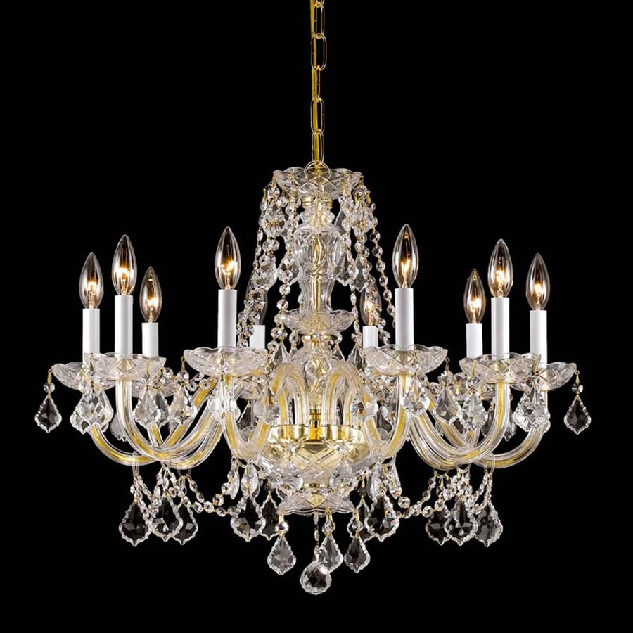 Weinstock Illuminations 28-in 10-Light Hand Polished Brass Crystal Candle Chandelier