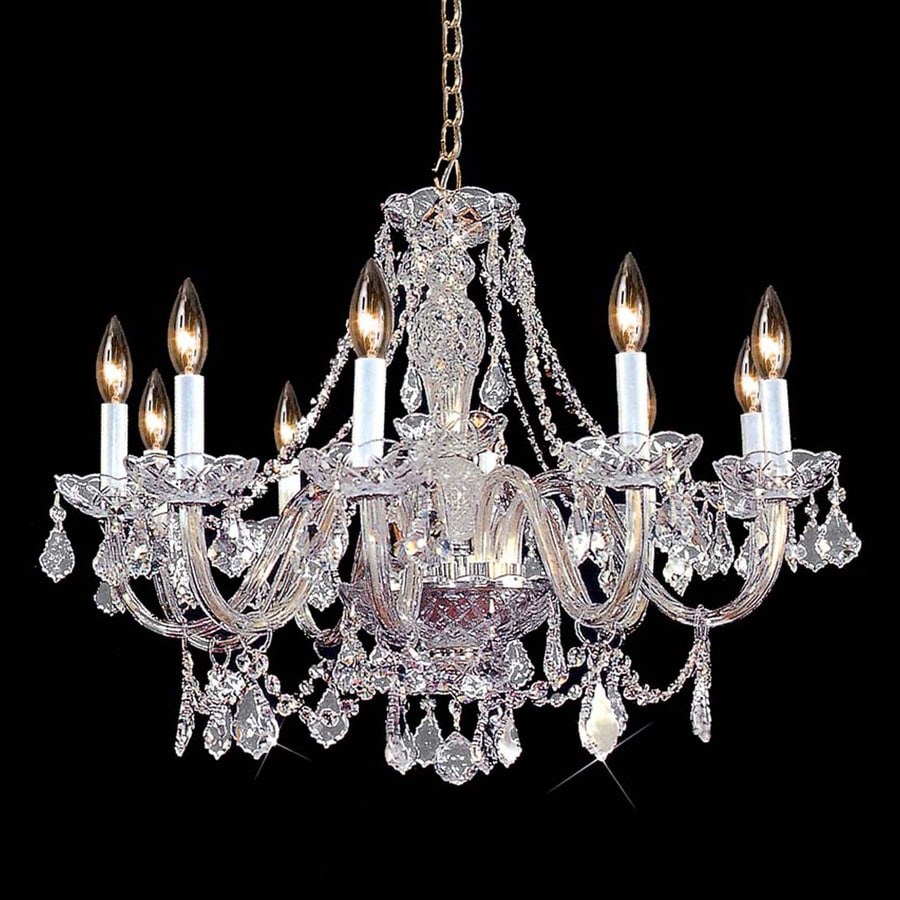 Weinstock Illuminations 28-in 10-Light Hand Polished Chrome Crystal Candle Chandelier