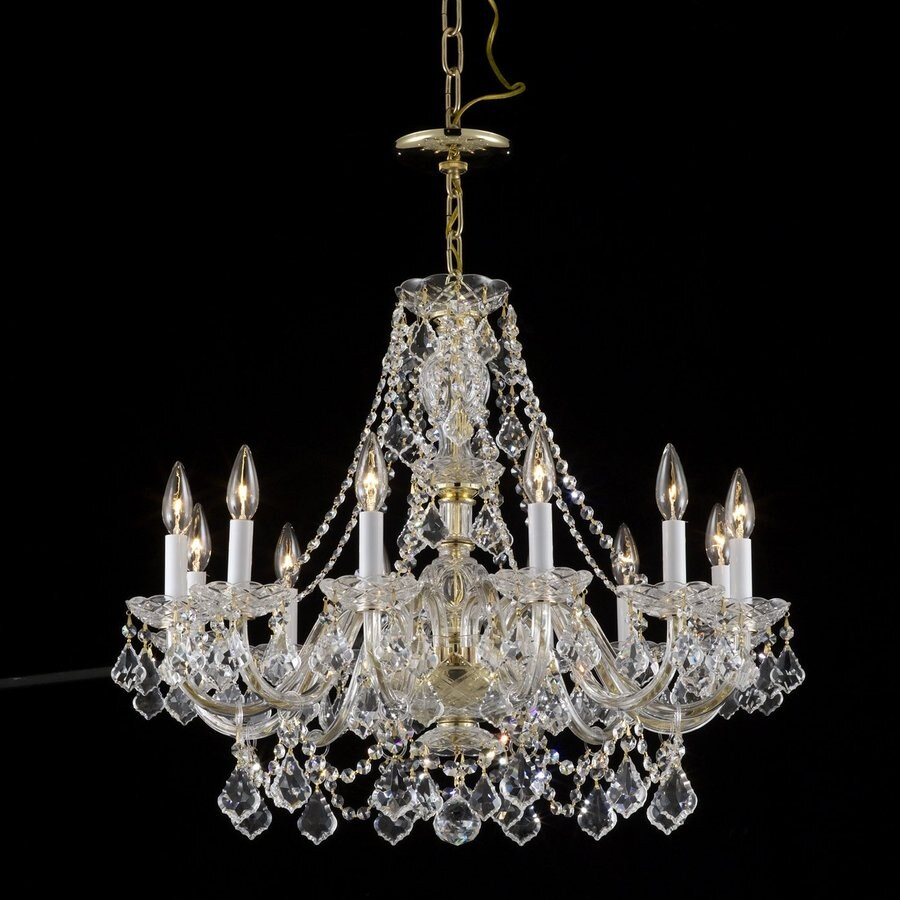 Weinstock Illuminations 28-in 12-Light Hand Polished Brass Crystal Candle Chandelier