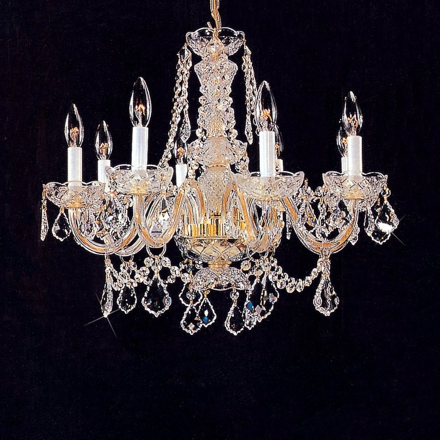 Weinstock Illuminations 23-in 8-Light Hand Polished Brass Crystal Candle Chandelier
