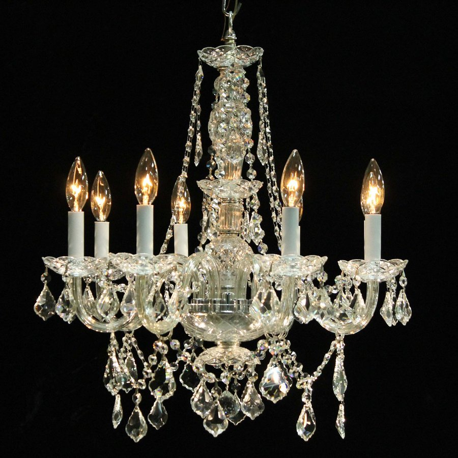 Weinstock Illuminations 23-in 8-Light Hand Polished Chrome Crystal Candle Chandelier