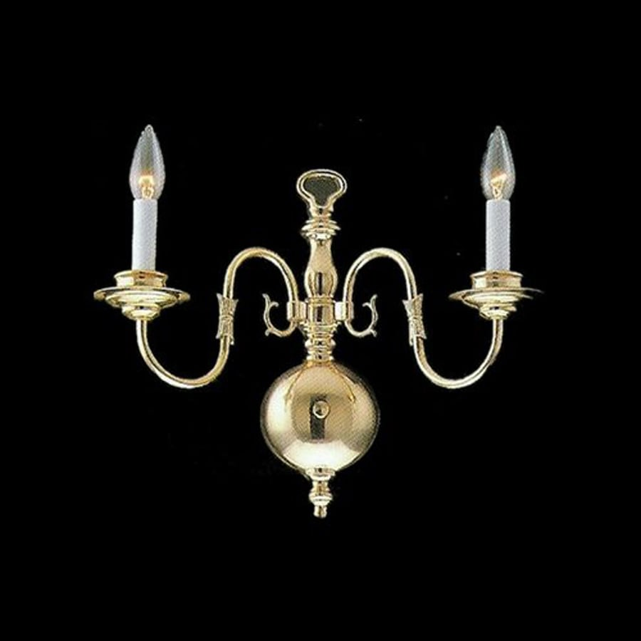 Weinstock Illuminations 13-in W 2-Light Polished Brass Candle Hardwired Wall Sconce
