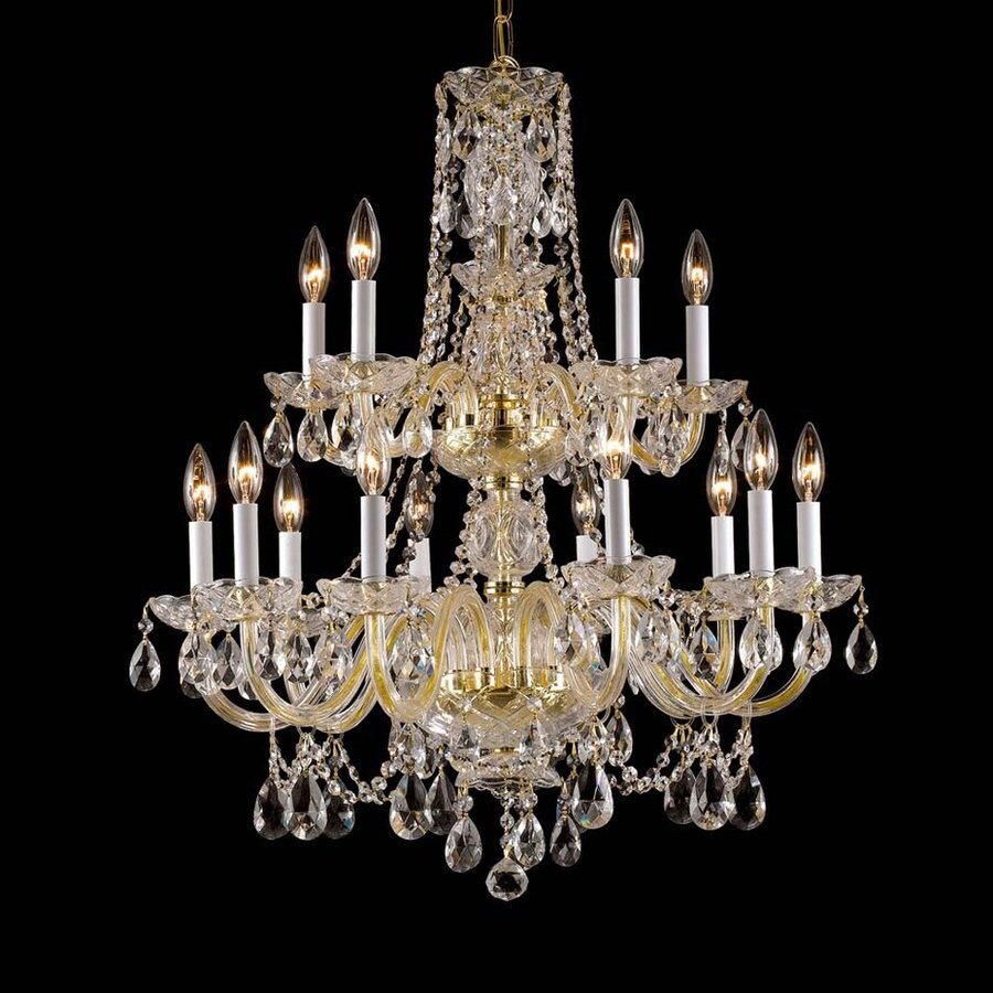 Weinstock Illuminations Largo 26-in 15-Light Hand polished brass Crystal Crystal Tiered Chandelier
