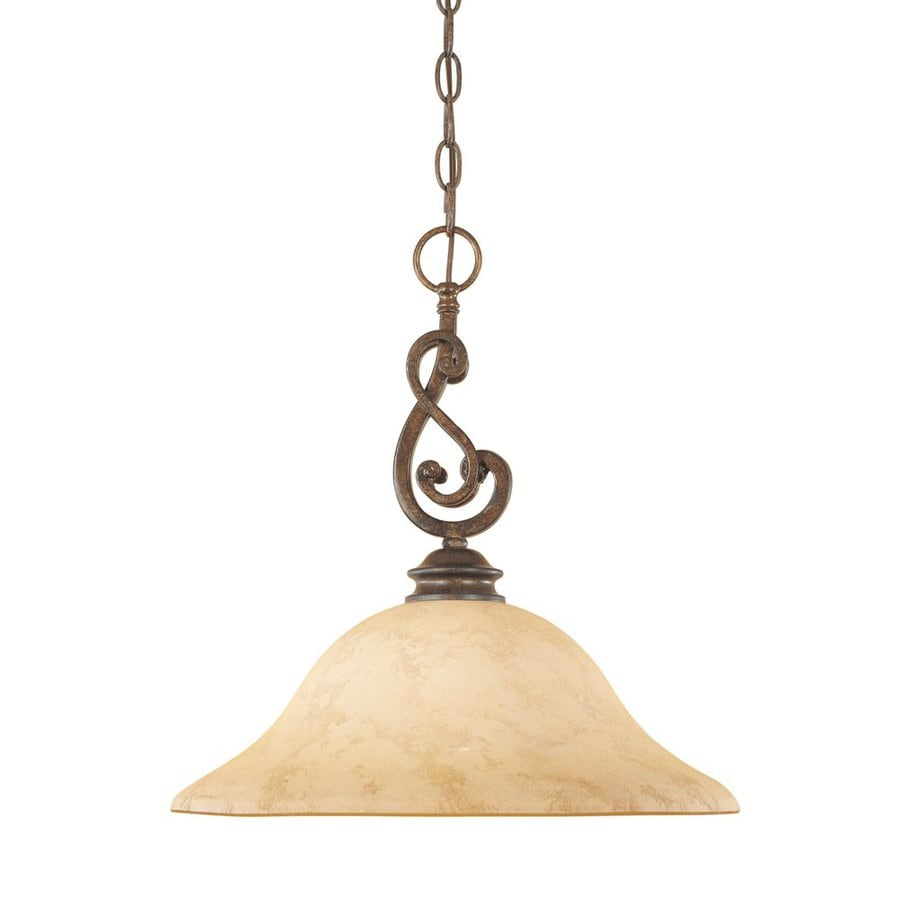 Designer's Fountain Mendocino 16-in Forged Sienna Rustic Single Tinted Glass Bell Pendant