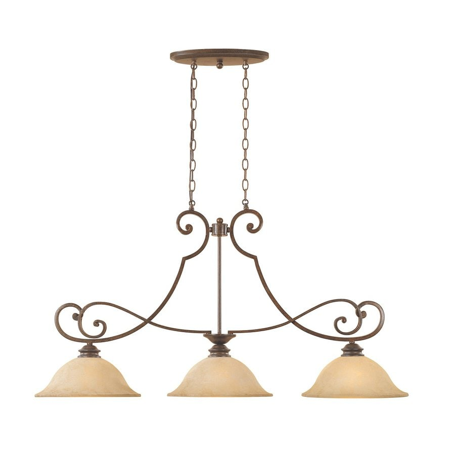 Designer's Fountain Mendocino 45.25-in W 3-Light Forged Sienna Kitchen Island Light with Tinted Shade