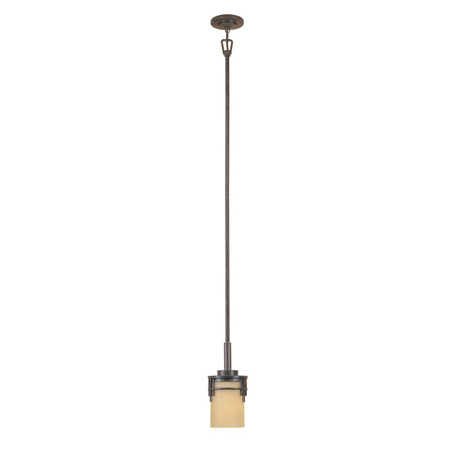 Designer's Fountain Mission Ridge 6-in Warm Mahogany Mini Tinted Glass Cylinder Pendant