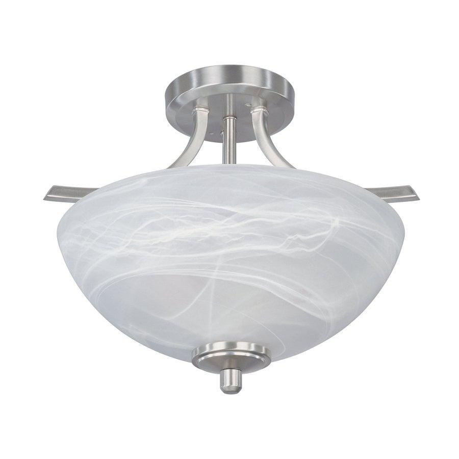 Designer's Fountain Tackwood 14.5-in W Satin platinum Flush Mount Light