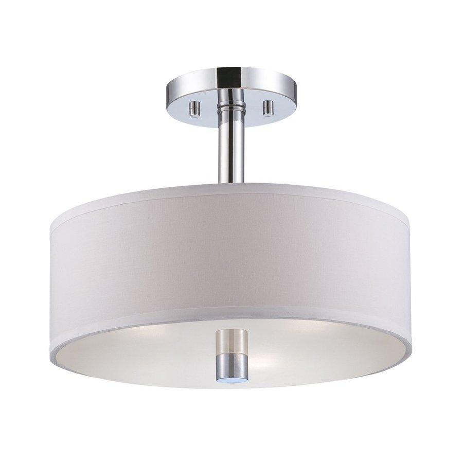 Designer's Fountain Cordova 13-in W Chrome Fabric Semi-Flush Mount Light