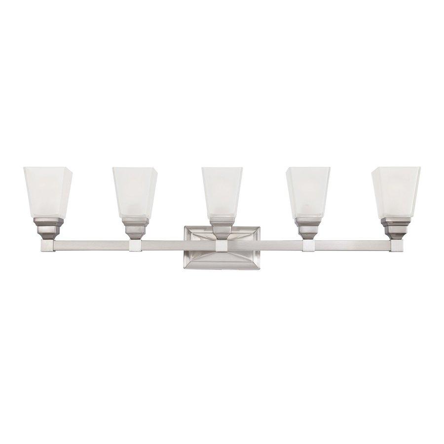Designer's Fountain Trenton 5-Light 9.75-in Satin Nickel Rectangle Vanity Light
