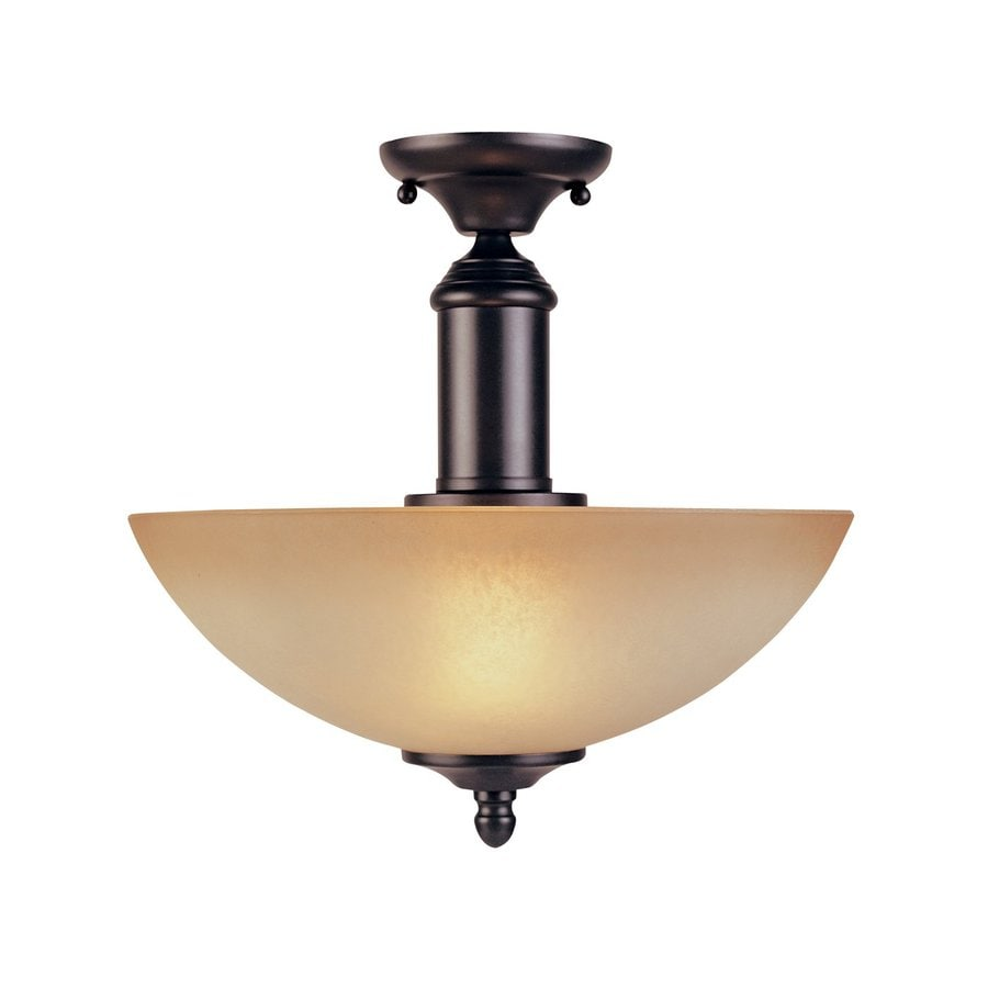 Designer's Fountain Apollo 12.5-in W Oil Rubbed Bronze Tea-Stained Glass Semi-Flush Mount Light