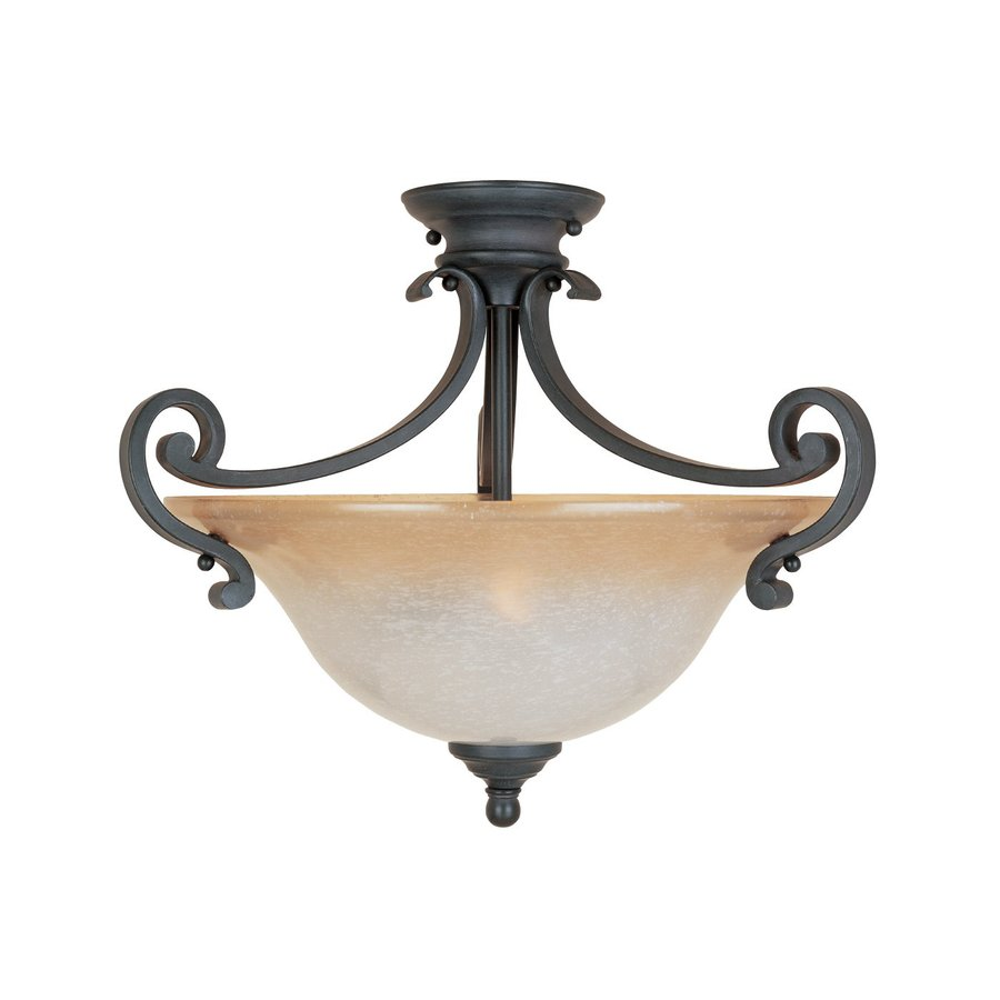 Designer's Fountain Barcelona 18.5-in W Natural Iron Tea-Stained Glass Semi-Flush Mount Light