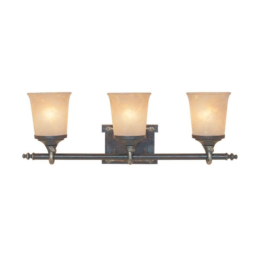 Designer's Fountain Austin 3-Light 10-in Weathered Saddle Rectangle Vanity Light