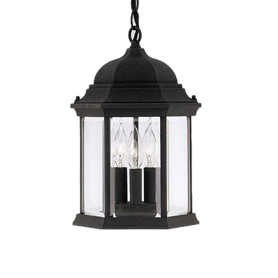 Outdoor Hanging Lanterns Lowes: Designers Fountain Devonshire Black Traditional Clear