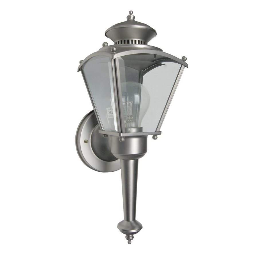 Designer's Fountain Beveled Glass Lanterns 15.5-in H Pewter Outdoor Wall Light