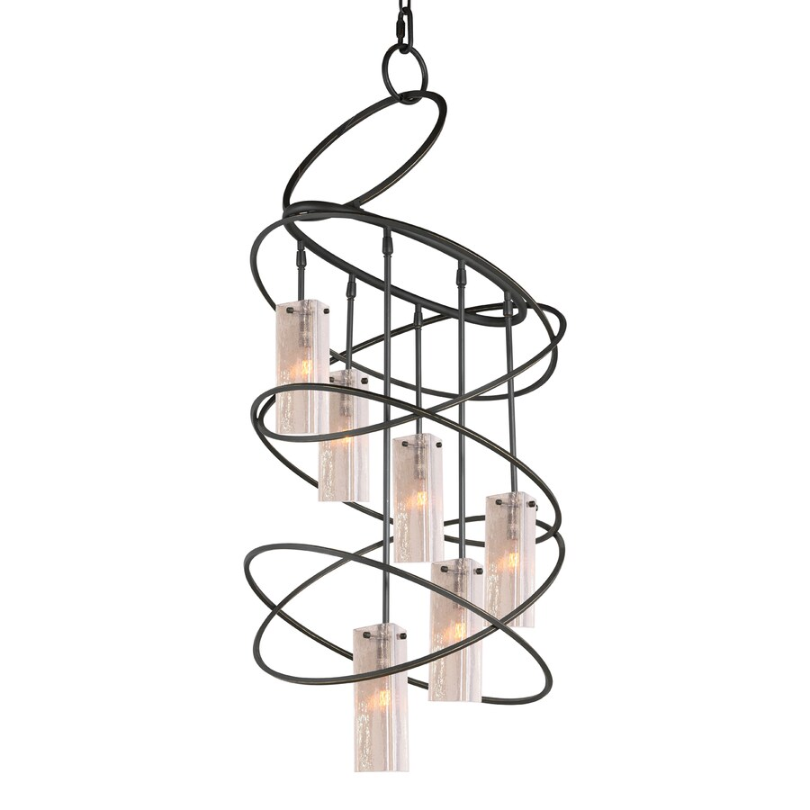 Woodbridge Lighting Loop 23-in 6-Light Black Seeded Glass Abstract Chandelier