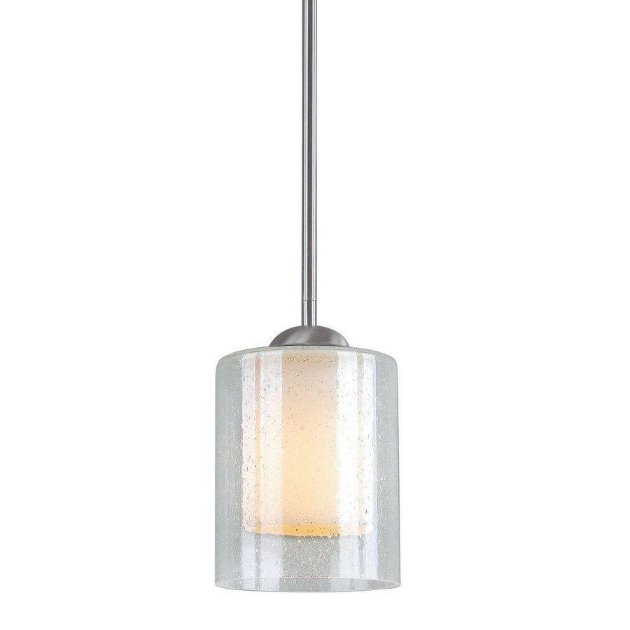 Woodbridge Lighting Cosmo 5.5-in Satin Nickel Mini Clear Glass Cylinder Pendant