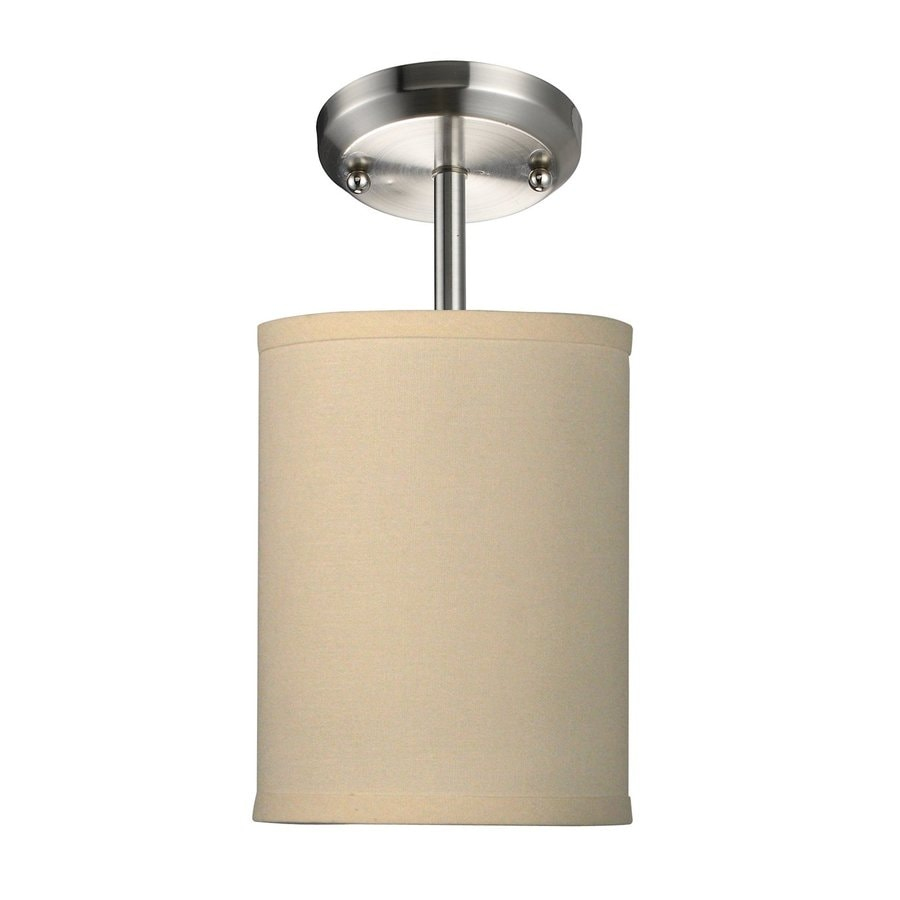 Z-Lite Albion 6-in W Brushed Nickel Fabric Semi-Flush Mount Light