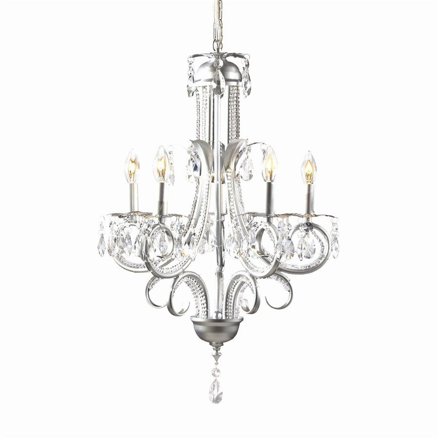 Z-Lite Pearl 14.75-in 5-Light Silver Crystal Candle Chandelier
