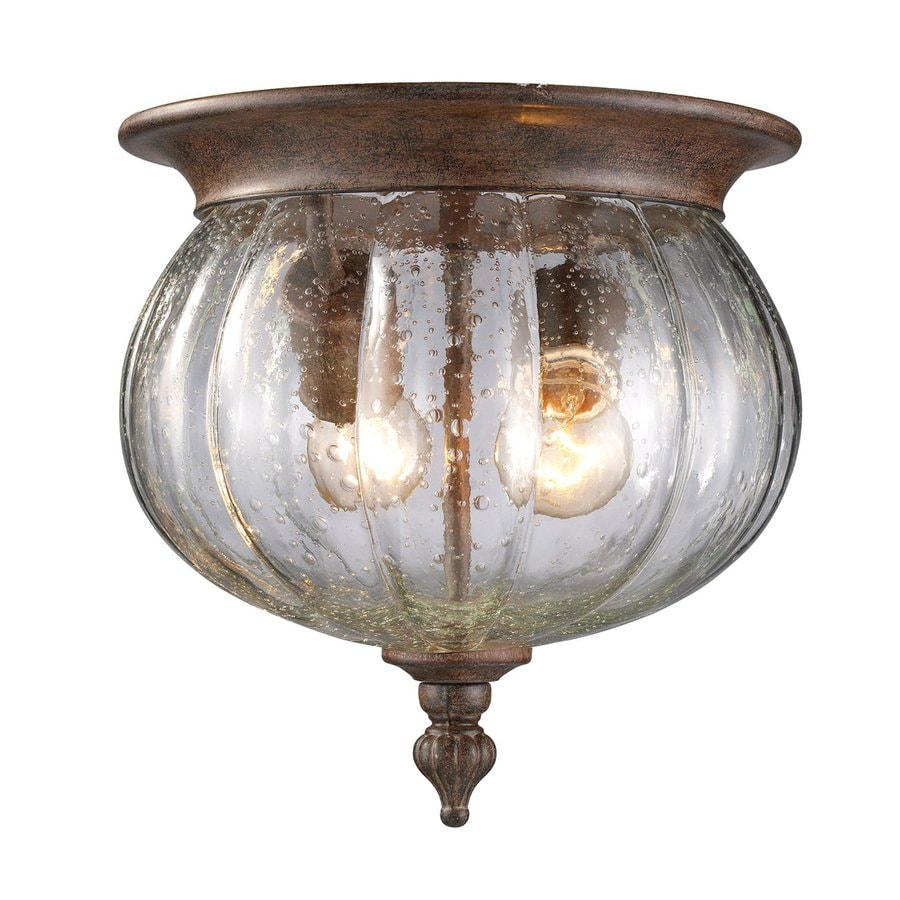 Z-Lite Belmont 10-in W Weathered Bronze Outdoor Flush Mount Light