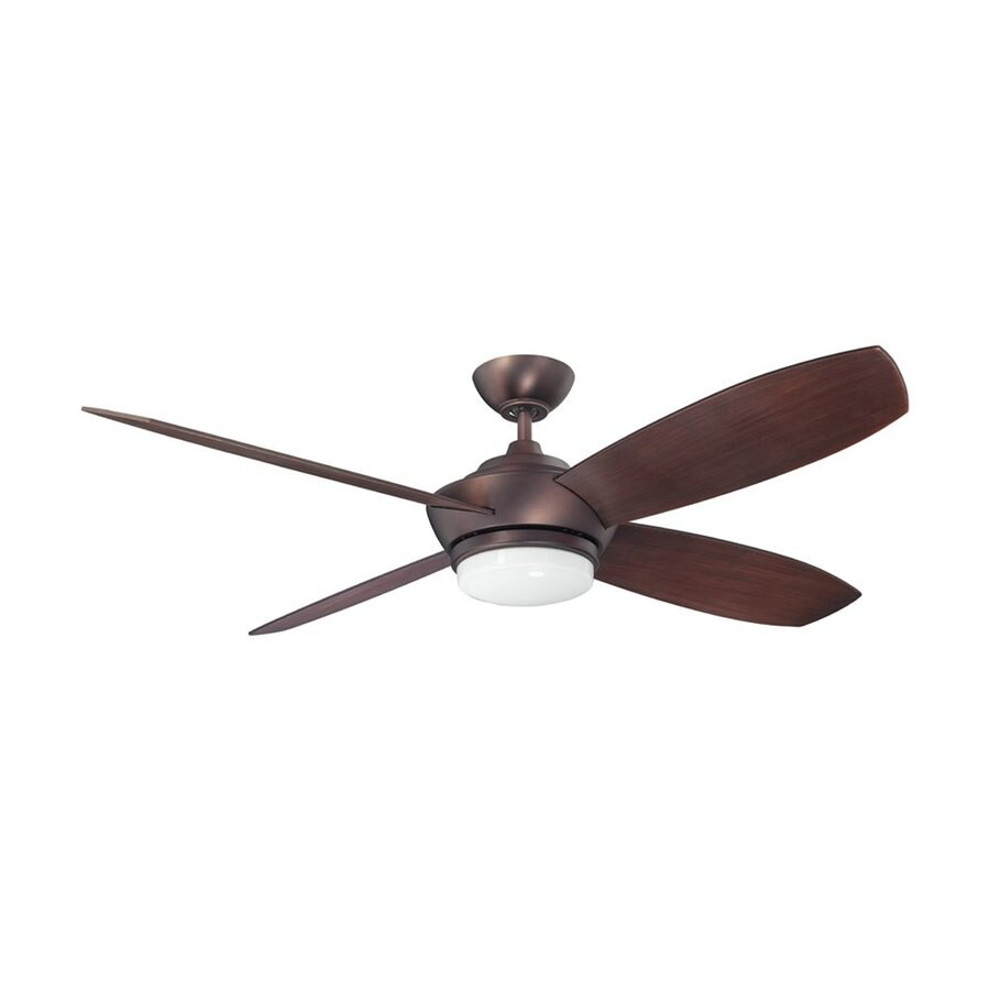 Kendal Lighting Zeta 52-in Oil brushed bronze Indoor Downrod Mount Ceiling Fan with Light Kit and Remote (4-Blade)